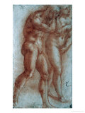 Adam and Eve Chased from Paradise, Copy after Masaccio, Red Chalk Giclee Print by Michelangelo Buonarroti 