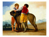 Boys with a Wild Dog 1786-87 Giclee Print by Francisco de Goya
