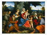 The Holy Family with Saint Francis, Saint Anthony, Mary Magdalen, John Baptist and Elisabeth Giclée-tryk af Paolo Veronese