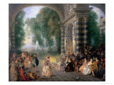 La Fete Champetre, a Country Celebration Giclee Print by Jean Antoine Watteau
