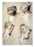 'Four Studies of a Young Woman's Head', 1716-1717 Giclée-tryk af Jean Antoine Watteau