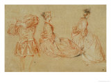 A Flutist, Two Women, Red Chalk, White Wash Giclee Print by Jean Antoine Watteau