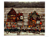 Houses with Laundry, Also Called Suburb II, 1914 Giclee Print by Egon Schiele