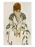 The Artist&#39;s Sister-In-Law in Striped Dress, Seated, 1917 Giclee Print by Egon Schiele