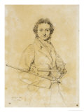 Niccolo Paganini, Violinist, 1819 Giclee Print by Jean-Auguste-Dominique Ingres