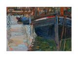 Boats Mirrored in the Water, 1908 Reproduction procédé giclée par Egon Schiele
