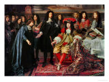 (Henri Testelin after Le Brun) Louis XIV Establishes the Academy of Science (Detail) Lmina gicle por Charles Le Brun