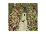Gustav Klimt - Gardenpath with Hens, 1916 Digitálně vytištěná reprodukce