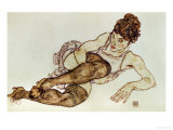 Reclining Woman with Black Stockings, 1917 Giclee Print by Egon Schiele