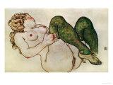 Nude with Green Stockings, 1918 Wydruk giclee autor Egon Schiele