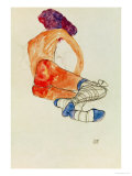 Seated Female Nude with Blue Garter, Back View, 1910 Giclee-vedos tekijänä Egon Schiele