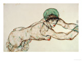 Reclining Female Nude with Green Cap, Leaning to the Right, 1914 Giclee Print by Egon Schiele