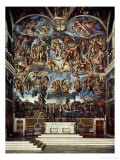 Sistine Chapel with the Retable of the Last Judgement (Fall of the Damned) Reproduction proc&#233;d&#233; gicl&#233;e par Michelangelo Buonarroti 