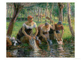 Les Lavandieres, the Washerwomen, 1895 Reproduction procédé giclée par Camille Pissarro
