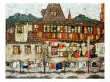 Maison avec le linge séchant, 1917 Reproduction procédé giclée par Egon Schiele