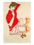 Wally in Red Blouse with Raised Knees, 1913 Reproduction proc&#233;d&#233; gicl&#233;e par Egon Schiele