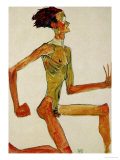 Kneeling Male Nude, in Profile Facing Right, 1910 Giclee Print by Egon Schiele
