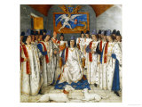 Louis Xi Presiding Over a Meeting of the Order Os Saint Michel Giclee Print by Jean Fouquet