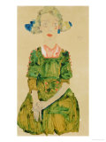 Young Girl with Blue Ribbon, 1911 Giclee Print by Egon Schiele