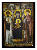 Virgin and Child with Two Saints, Byzantine Icon Giclee Print