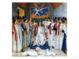 King Louis Xi Presides a Chapter Meeting of the Order of Saint Michel Giclee Print by Jean Fouquet