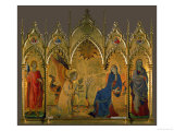 The Annunciation, Saints Asano and Margaret, Prophets Jeremiah, Ezechiel, Isaiah, and Daniel Giclée-tryk af Simone Martini