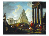 Alexander the Great Before the Tomb of Achilles, 1755-1757 Impression giclée par Hubert Robert