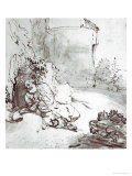 Jonah at the Walls of Niniveh, Mesopotamia, Pen and Brown Ink Drawing Giclee Print by  Rembrandt van Rijn