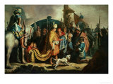 David Offers the Head of Goliath to King Saul Giclee Print by  Rembrandt van Rijn