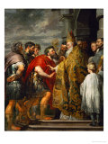 Saint Ambrosius and Emperor Theodosius, Around 1615 Giclee Print by Peter Paul Rubens