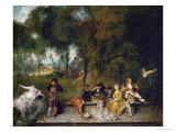 Open Air Party Reproduction procédé giclée par Jean Antoine Watteau