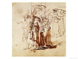Lot and His Family, Pen and Ink Drawing Giclee Print by  Rembrandt van Rijn