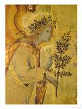 Annunciation, Detail of Gabriel Giclée-tryk af Simone Martini