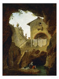 Washerwomen: The Fountain in the Grotto Reproduction procédé giclée par Hubert Robert