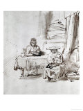 The Holy Family, Pen and Ink Drawing Impression giclée par  Rembrandt van Rijn
