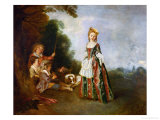 The Dance, Oil on Canvas (Around 1719) Reproduction procédé giclée par Jean Antoine Watteau