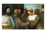 Christ and the Adultress; Unfinished, 1512-1515 Giclee Print by  Titian (Tiziano Vecelli)