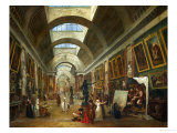 Restoring the Grande Galerie of the Louvre, 1796, on the Right, Robert Painting Reproduction procédé giclée par Hubert Robert