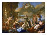 Flora's Realm, 1631, Three Gods, Flora, Apollo and Pan; Ajax Killing Himself Giclee Print by Nicolas Poussin