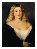 Young Woman in a Black Dress Giclee Print by  Titian (Tiziano Vecelli)