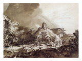 Houses Under a Stormy Sky, Pen and Brown Ink Drawing Giclee Print by Rembrandt van Rijn