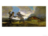 Duel with Cudgels, One of the Black Paintings from the Quinta Del Sordo, Goya's House, 1819-1823 Giclée-tryk af Francisco de Goya