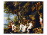 Nymphs and Satyrs Reproduction procédé giclée par Peter Paul Rubens