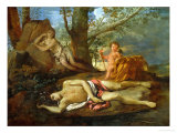 Echo and Narcissus or the Death of Narcissus Lmina gicle por Nicolas Poussin