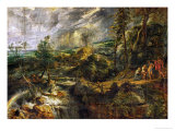 Landscape in a Thunderstorm, Philemon and Baucis, Jupiter and Mercury, circa 1620 Giclée-Druck von Peter Paul Rubens