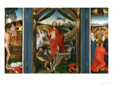 Triptych of the Resurrection with Saint Sebastian (Left Wing) and Ascension of Christ (Right Wing) Giclee Print by Hans Memling