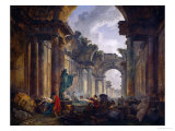 Imaginary View of the Ruins of the Grande Galerie of the Louvre Palace, 1796 Giclee Print by Hubert Robert
