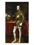 King Philip II of Spain (1527-1598), the King in Armor; Morion and Gloves on a Table Giclee Print by  Titian (Tiziano Vecelli)