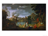 Orpheus and Euridice, circa 1659 Lmina gicle por Nicolas Poussin