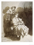 Young Woman at Her Toilet, Pen and Brown Ink, Brown Wash Giclee Print by  Rembrandt van Rijn